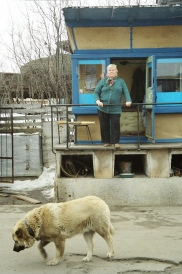 we collected a Kamaz truck from this yard in Murmansk the gate lady and her dogs where on guard