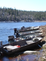 aluminium boats and jet engines resting for lunch